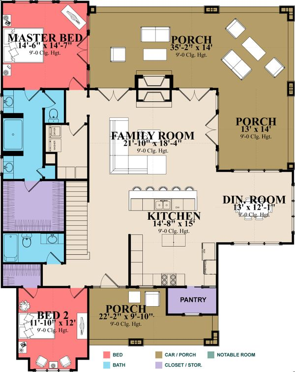 Architectural House Design - Country Floor Plan - Main Floor Plan #63-427
