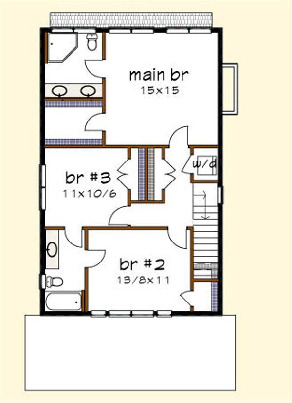 Craftsman Floor Plan - Upper Floor Plan Plan #79-273
