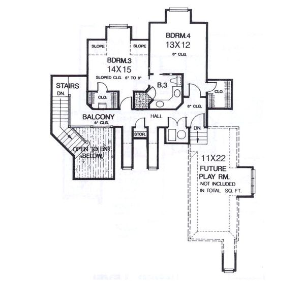 European Floor Plan - Upper Floor Plan Plan #310-938
