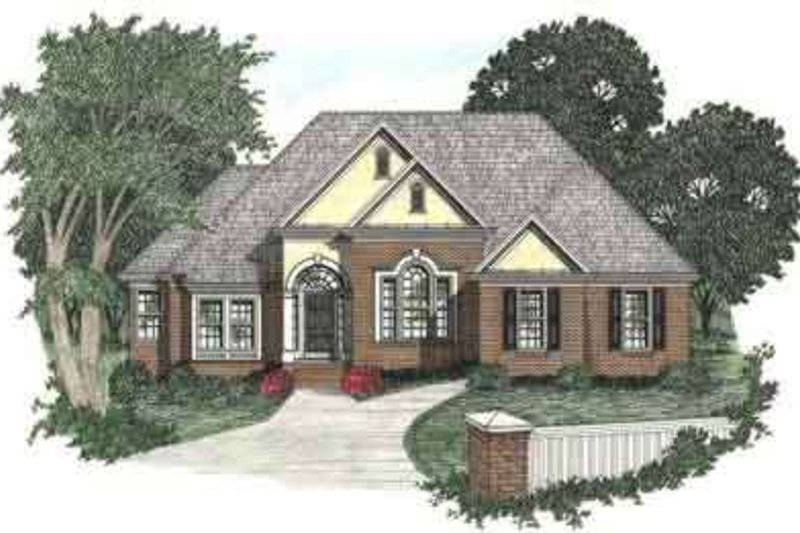 Traditional Style House Plan - 3 Beds 2 Baths 1732 Sq/Ft Plan #129-104 Exterior - Front Elevation