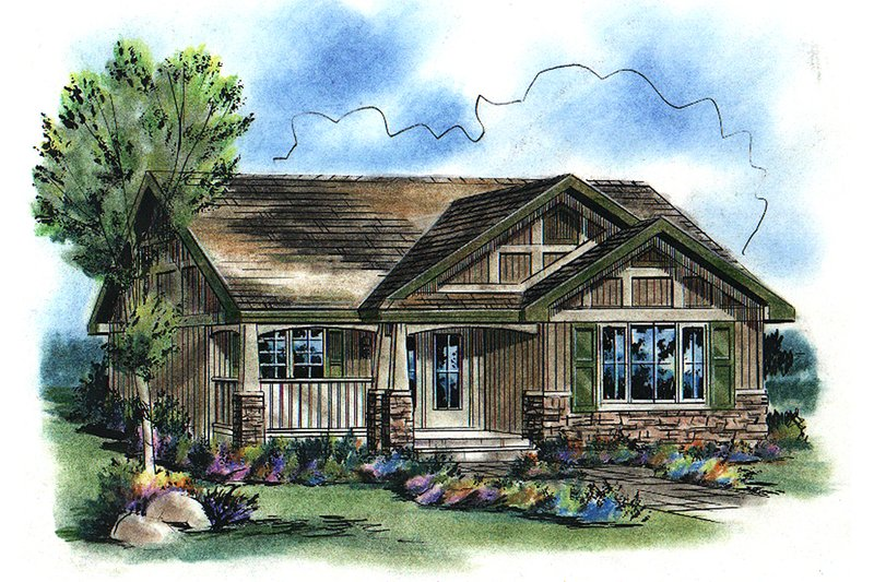 Craftsman Style House Plan - 2 Beds 1 Baths 940 Sq/Ft Plan #18-1042 Exterior - Front Elevation