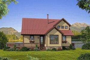 Cabin Exterior - Front Elevation Plan #932-344