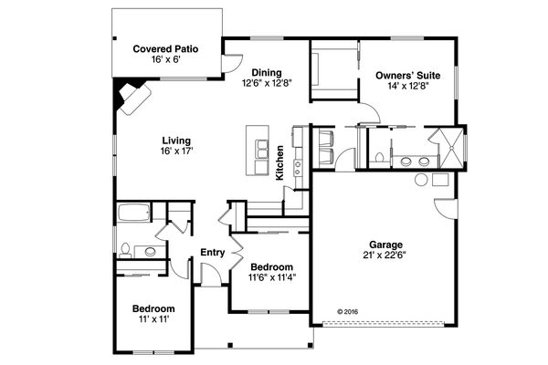 Ranch Floor Plan - Main Floor Plan Plan #124-1026