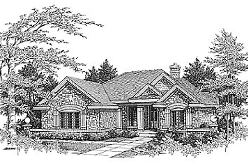 Traditional Style House Plan - 3 Beds 2 Baths 1912 Sq/Ft Plan #70-275 Exterior - Front Elevation