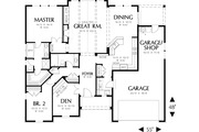 Craftsman Style House Plan - 2 Beds 2 Baths 1728 Sq/Ft Plan #48-411 Floor Plan - Main Floor Plan
