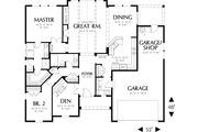 Craftsman Style House Plan - 2 Beds 2 Baths 1728 Sq/Ft Plan #48-411 Floor Plan - Main Floor Plan