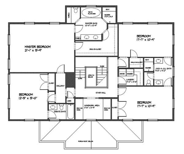 Classical Floor Plan - Upper Floor Plan Plan #477-7