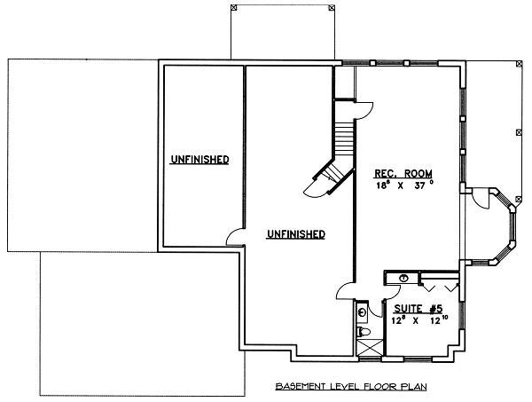 Modern Floor Plan - Lower Floor Plan Plan #117-524