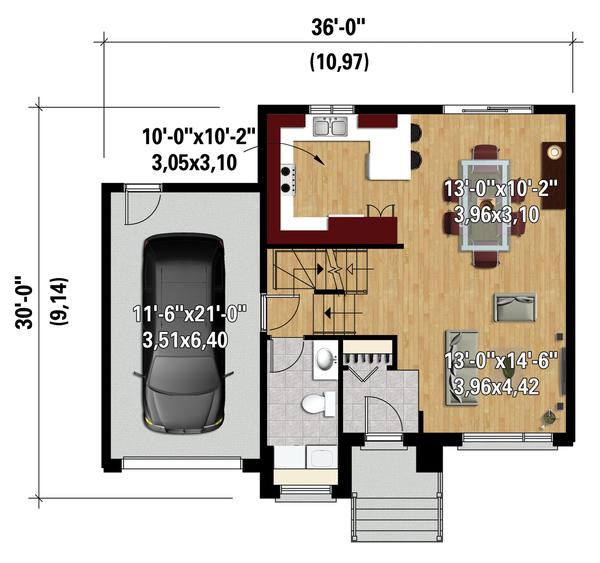 Contemporary Floor Plan - Main Floor Plan Plan #25-4281