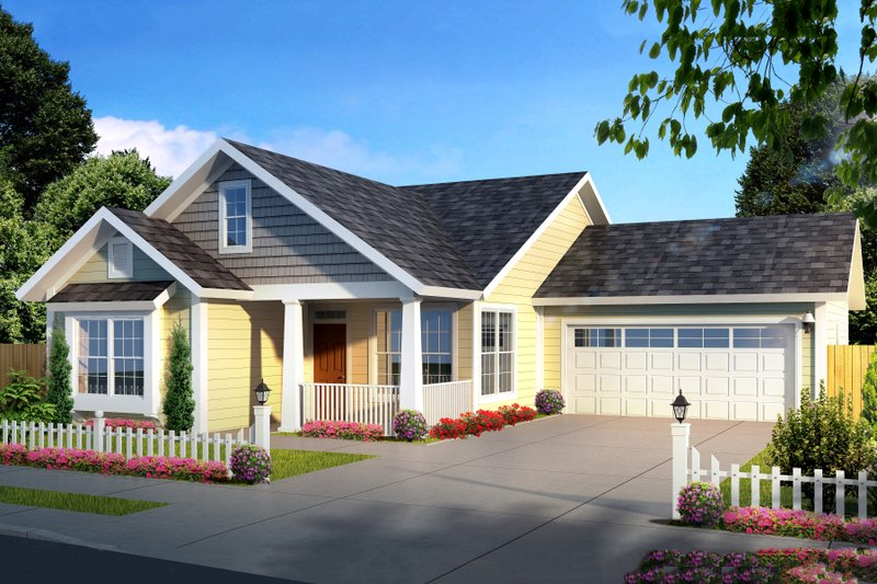 Cottage Style House Plan - 3 Beds 2 Baths 1420 Sq/Ft Plan #513-2091 Exterior - Front Elevation