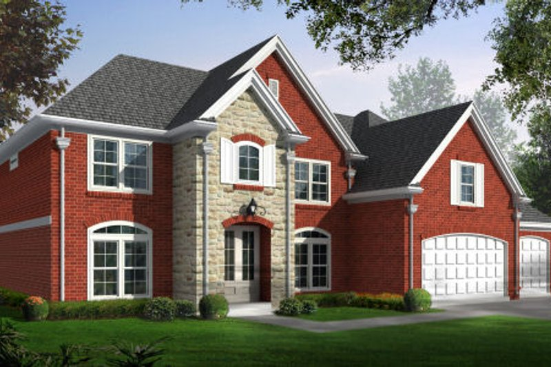 Traditional Style House Plan - 4 Beds 2.5 Baths 3394 Sq/Ft Plan #81-13742 Exterior - Front Elevation
