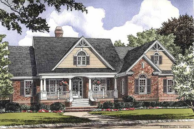 Country Exterior - Front Elevation Plan #929-354