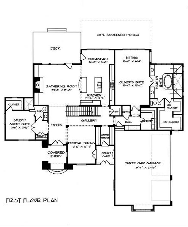 European Floor Plan - Main Floor Plan Plan #413-148