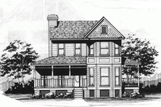 Victorian Exterior - Front Elevation Plan #10-228