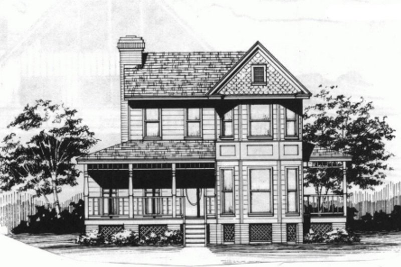 Victorian Style House Plan - 4 Beds 3 Baths 1737 Sq/Ft Plan #10-228 Exterior - Front Elevation