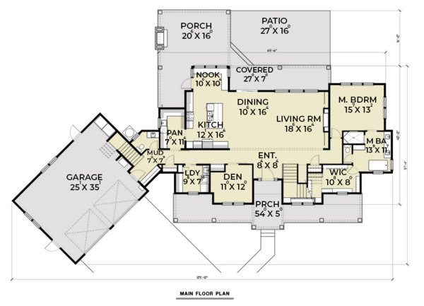 Farmhouse Floor Plan - Main Floor Plan Plan #1070-23