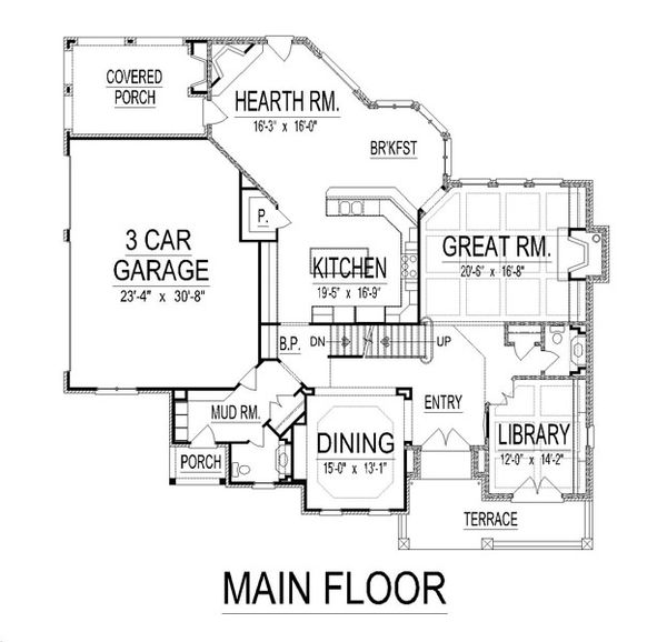 European Floor Plan - Main Floor Plan Plan #458-19