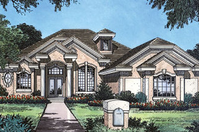 Mediterranean Style House Plan - 3 Beds 2 Baths 2278 Sq/Ft Plan #417-228 Exterior - Front Elevation