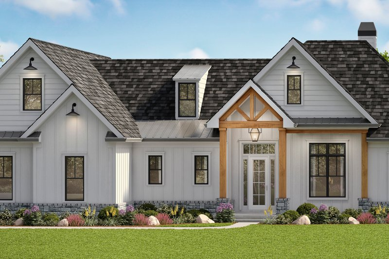 House Plan Design - Farmhouse Exterior - Front Elevation Plan #54-389