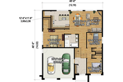 Contemporary Style House Plan - 3 Beds 1 Baths 1343 Sq/Ft Plan #25-4888