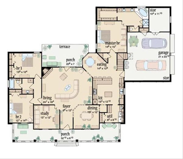 Traditional Floor Plan - Main Floor Plan Plan #36-210