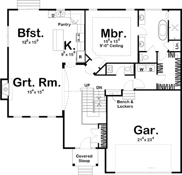 Traditional Style House Plan - 4 Beds 3.5 Baths 2317 Sq/Ft Plan #455-214 Floor Plan - Main Floor Plan