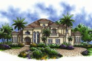 Mediterranean Style House Plan - 5 Beds 5 Baths 4428 Sq/Ft Plan #27-428 Exterior - Front Elevation