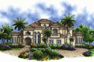 Mediterranean Exterior - Front Elevation Plan #27-428