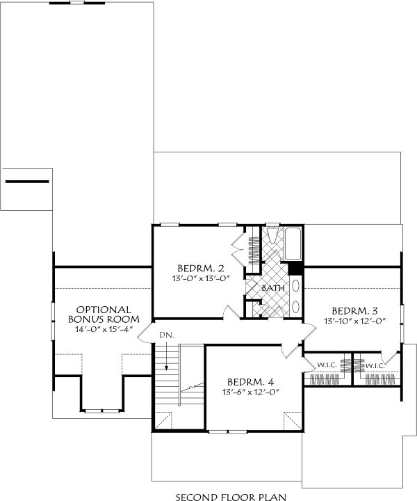 Farmhouse Floor Plan - Upper Floor Plan #927-995