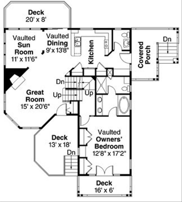 Craftsman Floor Plan - Main Floor Plan Plan #124-784