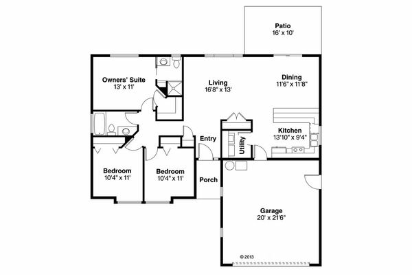 House Plan Design - Ranch Floor Plan - Main Floor Plan #124-905