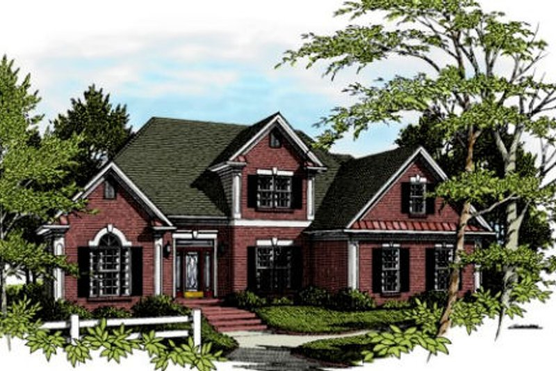European Style House Plan - 4 Beds 3.5 Baths 1991 Sq/Ft Plan #56-148 Exterior - Front Elevation