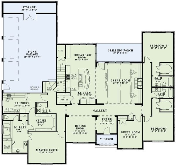 European Floor Plan - Main Floor Plan Plan #17-2497