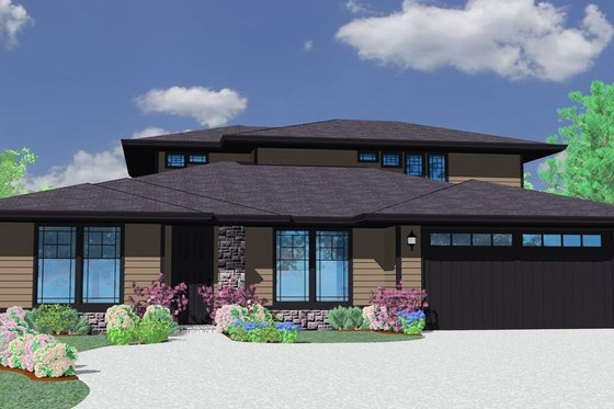 Prairie Exterior - Front Elevation Plan #509-63