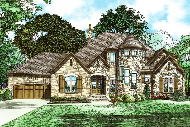 European Style House Plan - 4 Beds 3.5 Baths 2968 Sq/Ft Plan #17-2573 Exterior - Front Elevation