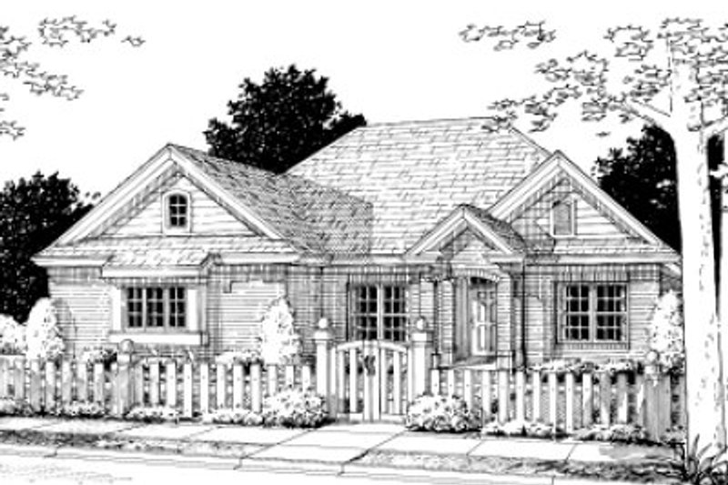 Traditional Style House Plan - 3 Beds 2 Baths 1447 Sq/Ft Plan #20-361 Exterior - Front Elevation