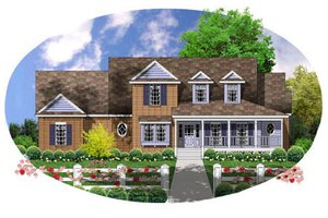 Country Exterior - Front Elevation Plan #40-135