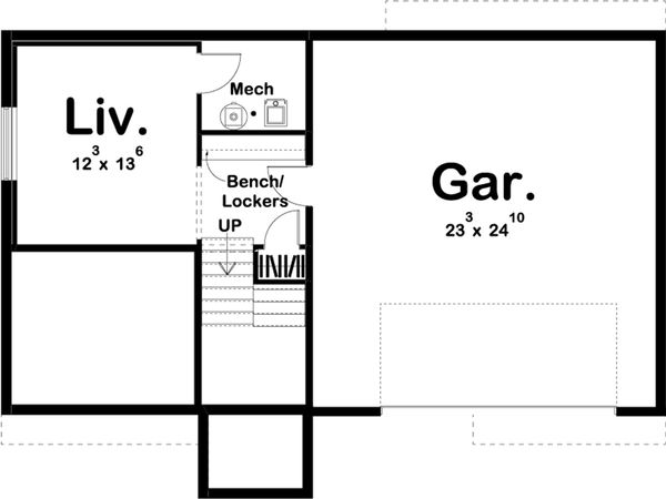 Farmhouse Floor Plan - Lower Floor Plan Plan #455-218