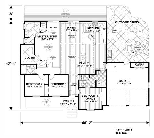 Craftsman Floor Plan - Main Floor Plan #56-706