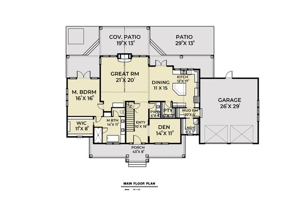 Dream House Plan - Cottage Floor Plan - Main Floor Plan #1070-72