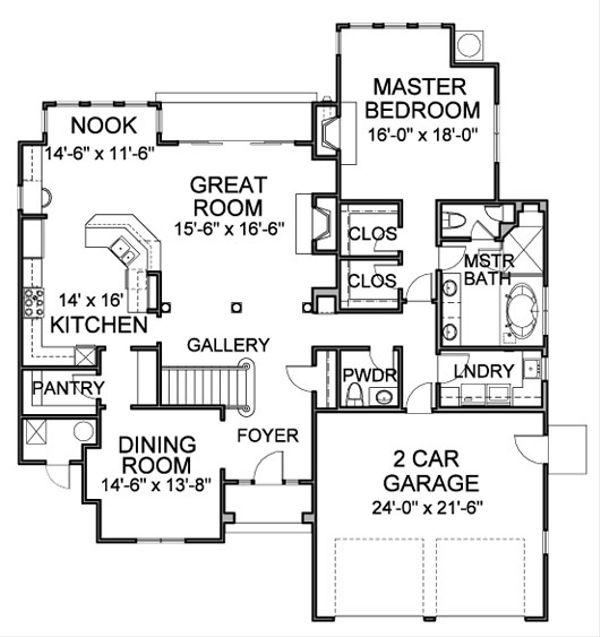 Traditional Floor Plan - Main Floor Plan Plan #490-39