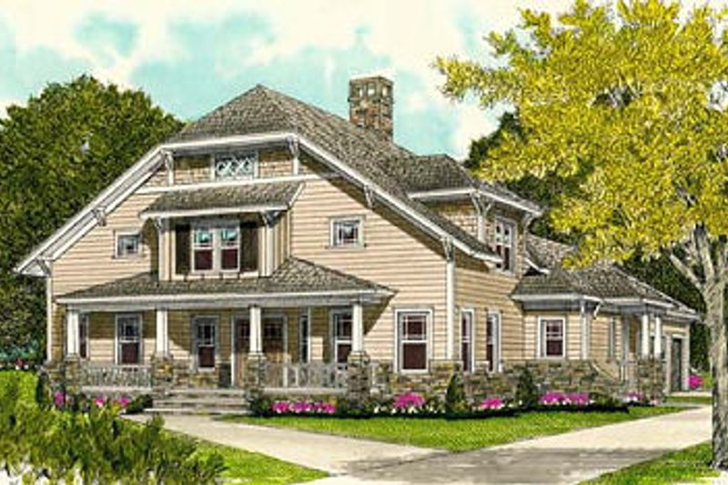 Craftsman Style House Plan - 4 Beds 3 Baths 3435 Sq/Ft Plan #413-105 Exterior - Front Elevation