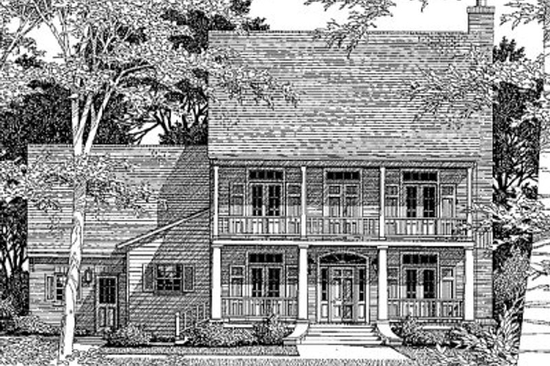 Southern Style House Plan - 3 Beds 2.5 Baths 2327 Sq/Ft Plan #41-158 Exterior - Front Elevation