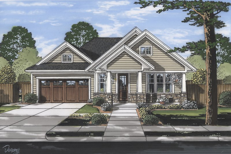 Home Plan - Craftsman Exterior - Front Elevation Plan #46-896