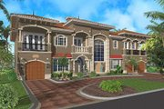Mediterranean Style House Plan - 4 Beds 5.5 Baths 6009 Sq/Ft Plan #420-183 Exterior - Front Elevation