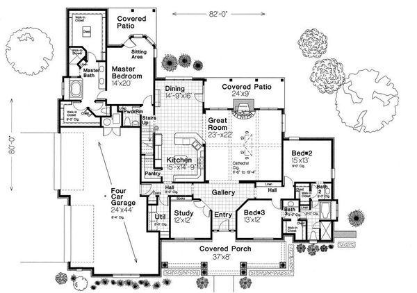 European Floor Plan - Main Floor Plan Plan #310-959
