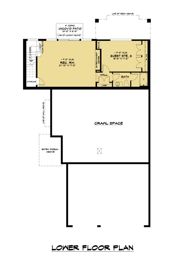 Contemporary Floor Plan - Lower Floor Plan Plan #1066-118