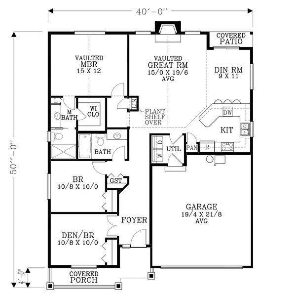 Craftsman Floor Plan - Main Floor Plan Plan #53-462