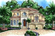 Beach Style House Plan - 4 Beds 4.5 Baths 6509 Sq/Ft Plan #27-527 Exterior - Front Elevation