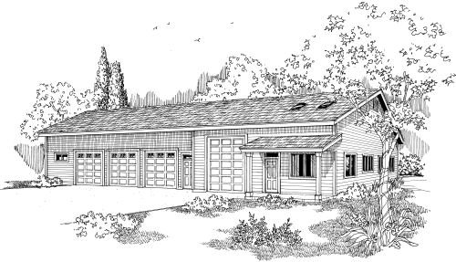 Traditional Style House Plan - 1 Beds 1 Baths 944 Sq/Ft Plan #124-659 Exterior - Front Elevation
